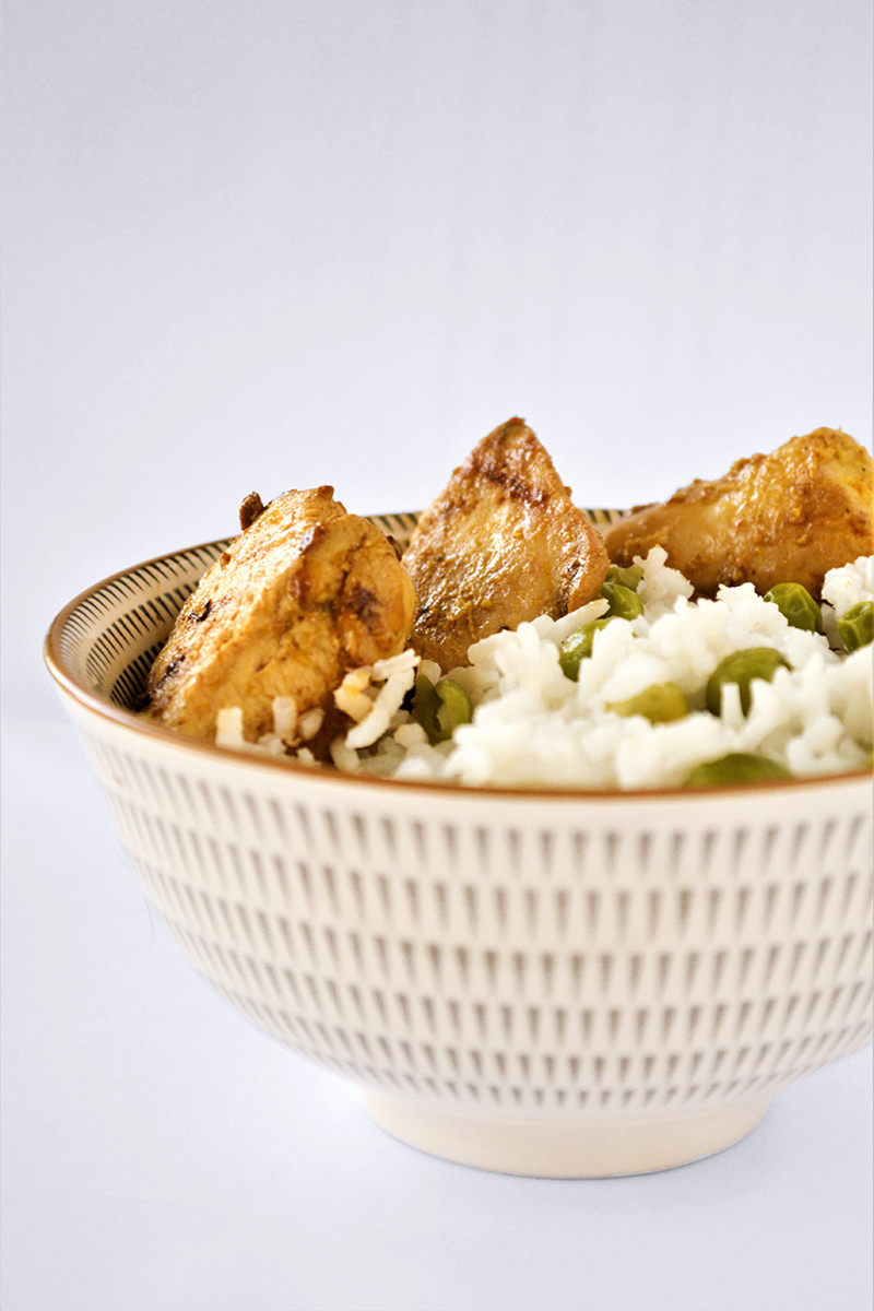 Recipe for Fried Chicken and Green Peas Rice