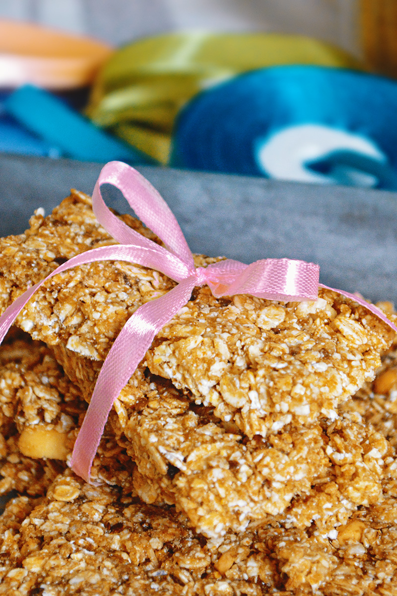 baking healthy wheat bran and peanut butter granola bars